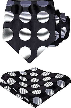 Hisdern Extra Long Polka Dots Tie Handkerchief Mens Necktie & Pocket Square Set, XL, 63 inches length, Black / Silver