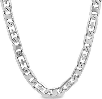 Zales Mens Curb with Cross Chain Necklace in Stainless Steel - 24