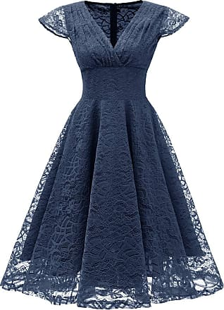 OLIPHEE Womens Vintage 1950s Lace Overlay Deep V-Neck Ruched Cap Sleeves Swing Dresses Navy Blue-2 UK 20-22(Tag 2XL)