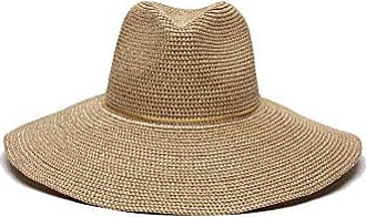 ále by Alessandra Womens Sancho Adjustable Toyo Hat with Leather Trim, Gold Shimmer, Adjustable Head Size