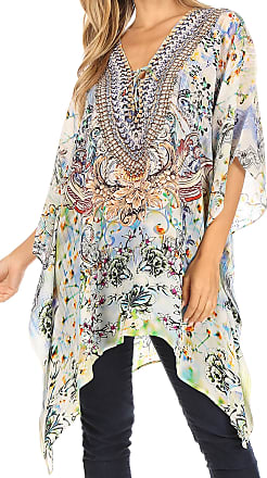 Sakkas 1825 - Aymee Womens Caftan Poncho Cover up V Neck Top Lace up with Rhinestone - ORW234-White - OS