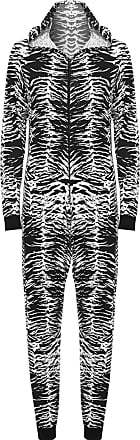 WearAll Womens Animal Aztec Zebra Print Onesie Ladies Playsuit Long Hooded Jumpsuit - Zebra - 12/14