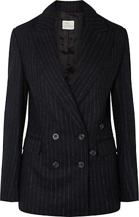 Hillier Bartley Double-breasted Pinstriped Wool-felt Blazer - Black