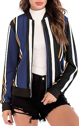 EmilyLe Womens Floral Print Bomber Jacket Long Sleeve Zipper Baseball Casual Outwear Fashion Tops (L, Striped Navy)