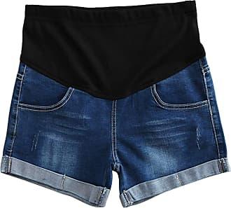 junkai Women Maternity Denim Jeans Shorts Leggings Adjustable Maternity Belly Band Pants Dark Blue XL