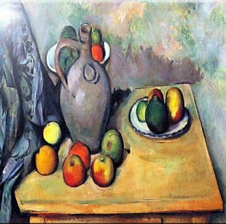 Rikki Knight Paul Cezzane Art Still Life with Pitcher and Fruit on Table Design Art Ceramic Tile, 4 by 4-Inch