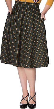Banned Retro Ladies Day Check 50s Skirt - UK 24-26 (4XL) Green