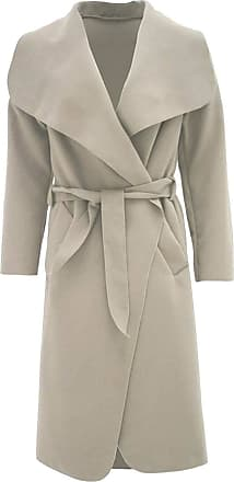 Parsa Fashions Malaika Womens Ladies Waterfall Long Full Sleeves Cape Cardigan Belted Jacket Trench Coat - Available in PLUS SIZES UK 8-20 (Plus Size (UK 20-22), Bei