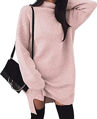 aa104dfa0c7f09 ORANDESIGNE Damen Elegant Pulloverkleid Strickkleid Mode Minikleid  Winterkleider Langarm Warm Sweatshirt Strickpullover Oversize Tunika Kleid  Rosa
