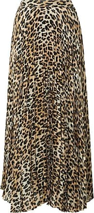 Alice & Olivia Katz Pleated Metallic Leopard-print Silk-blend Gauze Maxi Skirt - Brown