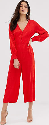Y.A.S jacquard jumpsuit with waist detail-Red