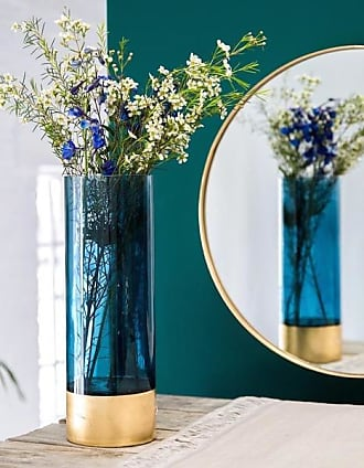 The Forest & Co. Azure Blue And Gold Embossed Vase In Two Sizes - Large