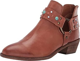 b30e73336d77 Frye Womens RAY Stone Harness Back Zip Ankle Boot Cognac 8.5 M US