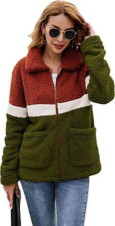 YYW Womens Faux Fur Fleece Sherpa Jacket, Zipper Long Sleeve Color Block Outerwear with Pockets (Army Green,S)
