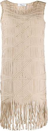 Blumarine Vestido reto com bordado - Neutro