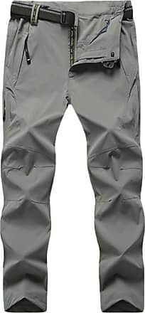 Yonglan Mens Softshell Trousers Waterproof Quick Drying Trousers Outdoor Walking Hiking Climbing Pants Light Grey 7XL