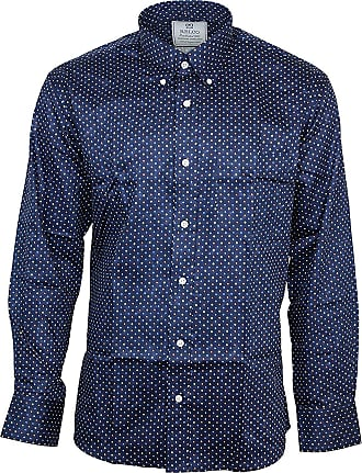 Relco Mens Multi Diamond Platinum Longsleeve Button Down 100% Satin Cotton Shirt XX-Large Navy