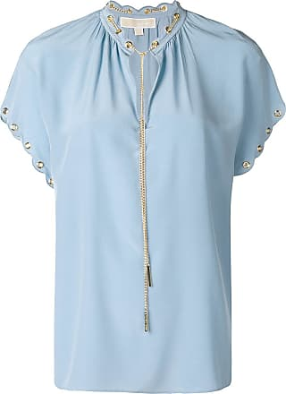 ffe10845c Michael Michael Kors Blusa de seda com mangas curtas - Azul