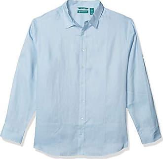 Cubavera Mens Long Sleeve 100/% Linen Gingham Shirt with Pintuck Detail