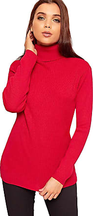 LADIES POLO NECK TOP STRETCH ROLL NECK LONG SLEEVE TURTLE NECK TOP JUMPER 8-14