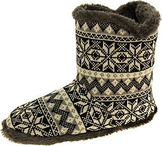 Footwear Studio Mens Coolers Black Fairisle Faux Fur Lined Snowflake Boot Slippers UK 11-12
