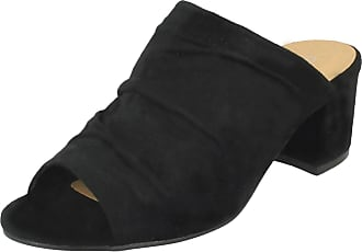 F10664 Ladies Anne Michelle Black Slip On Peep Toe Sandals