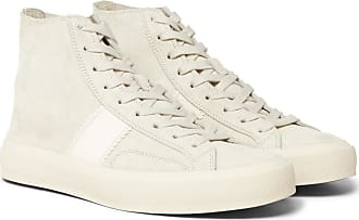 Tom Ford Cambridge Leather-trimmed Suede High-top Sneakers - Off-white