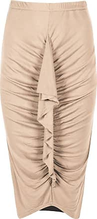 Be Jealous Womens Ladies Front Swirly Frill Ruched High Low Stretchy Elasticated Midi Skirt
