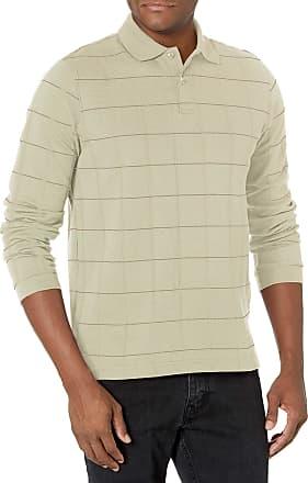 Van Heusen Mens Big and Tall Flex Long Sleeve Jaspe Windowpane Polo Shirt Polo Shirt