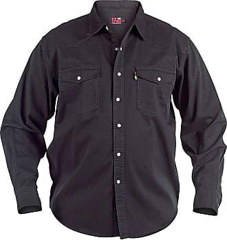 Duke London Mens Western Button Up Denim Shirt - Black - XX Large