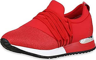 da5a45f1782c1f Scarpe Vita Damen Plateau Sneaker Schnürer Keilabsatz Turnschuhe Glitzer  180022 Rot 38