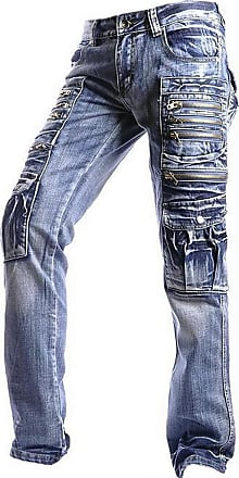 Jeansian Mens Designed Straight-Leg Washed Denim Jeans Trousers Pants J002 W30