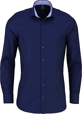 Olymp Olymp Level Five Body Fit Shirt Long Sleeve New Kent Collar Pattern Blue - Blue - 16