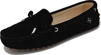 MGM-Joymod Ladies Womens Casual Slip-on Knot Black Suede Leather Walking Driving Loafers Flats Moccasins Hiking Shoes 6.5 M UK