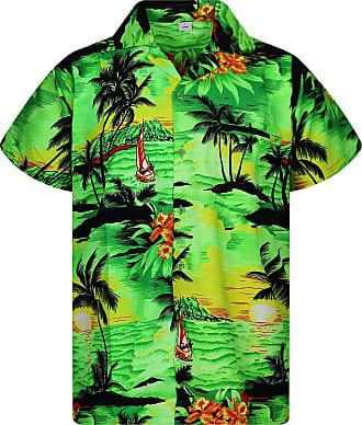 V.H.O. Funky Hawaiian Shirt, Shortsleeve, Surf, Green, 4XL