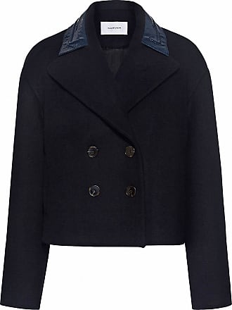 Carven Patent Collar Double Breasted Wool Coat Black