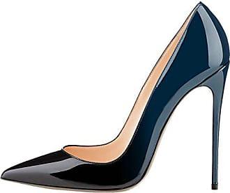 71375fe412c2f2 MERUMOTE Frauen Spitz Stiletto High Heel Lackleder Kleid Party Üblichen  Pumps Blau Schwarz 45 EU