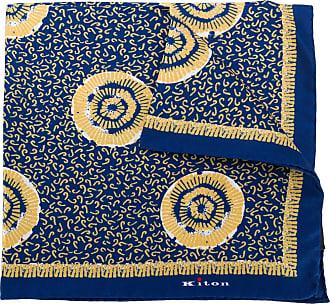 Kiton Lenço de bolso de seda com estampa abstrata - Amarelo