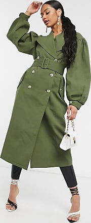 Unique21 Unique21 - Langärmliger Trenchcoat in Khaki-Grün