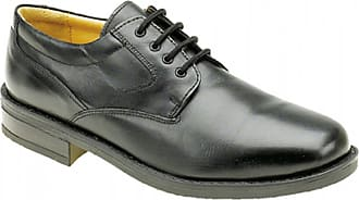 Roamers Mens Black Leather Flexi Plain Gibson Shoe - Black - size UK Mens Size 14