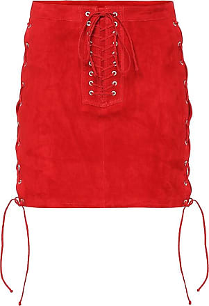 Unravel Lace-up suede miniskirt