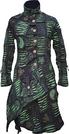 Gheri Womens Patchwork Asymmetrical Hem Boho Gothic Overcoat Green Medium