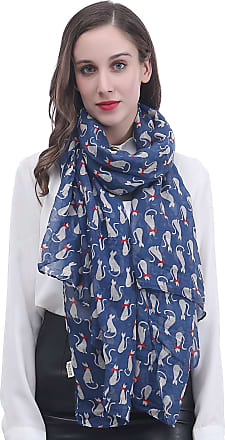 Lina & Lily Cat Print Womens Scarf Lightweight (Blue)