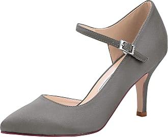 Elegantpark HC2011 Wedding Shoes for Women Pointed Toe High Heels Court Shoes Straps DOrsay Buckle Wedding Party Bridal Shoes Steel UK 9(EU 42)