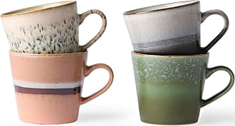 HKliving Ceramic 70s Cappuccino Mugs Set of 4 - ceramic