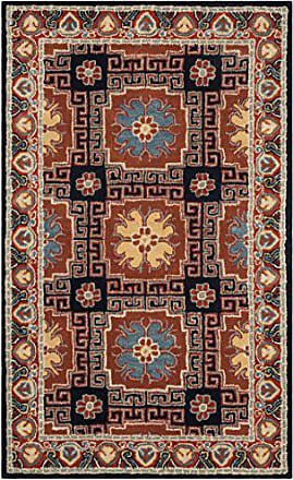 Safavieh HG742N-3 Heritage Collection Premium Wool Area Rug 3 x 5 Navy/Orange