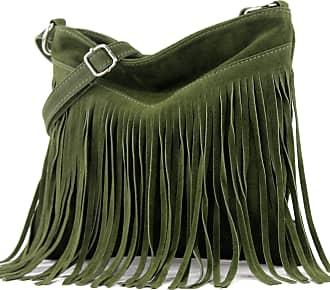 modamoda.de T145 - ital shoulder bag fringed suede, Colour:T145 army green