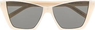 Saint Laurent Eyewear Óculos de sol retangular Kate - Neutro