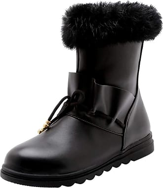 RAZAMAZA Women Fashion Flat Ankle Boots Collar Pull On Winter Shoes Round Toe Short Boots Party Shoes Black Size 40 Asian