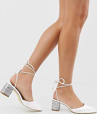 Be Mine Bridal Honor ivory satin glitter mid heeled shoes-White
